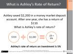what is ashley s rate of return