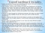 a good backboard includes
