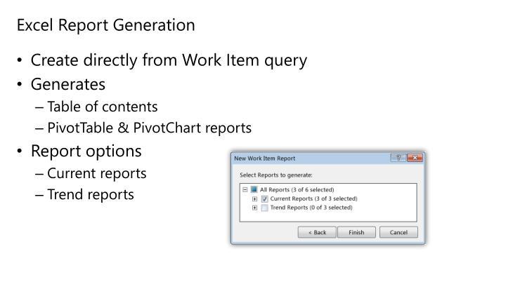 Excel Report Generation