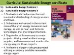 curricula sustainable energy certificate
