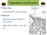 expenditure justification
