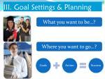 iii goal settings planning