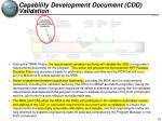 capability development document cdd validation