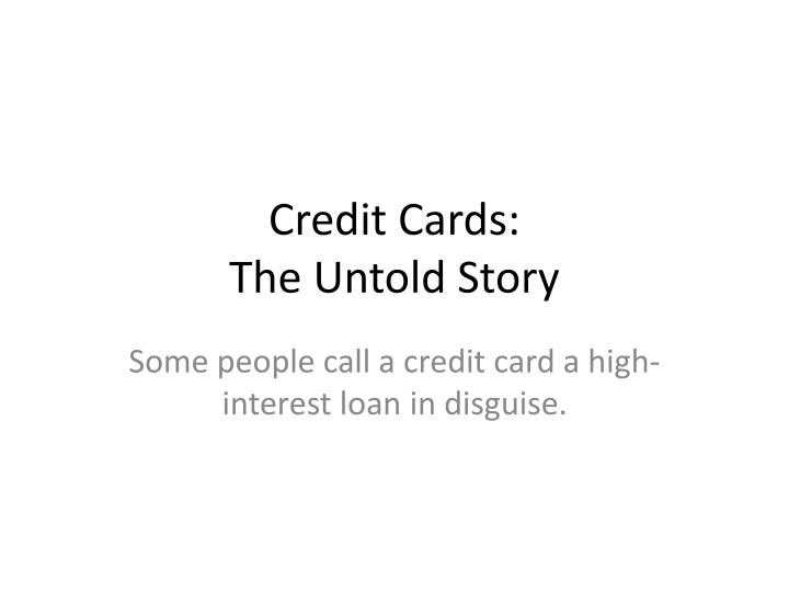 credit cards the untold story n.