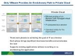 only vmware provides an evolutionary path to private cloud