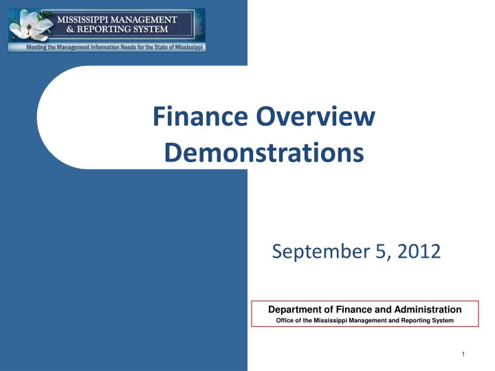 finance overview demonstrations n.