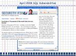 april 2008 sql vulnerabilities