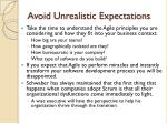 avoid unrealistic expectations