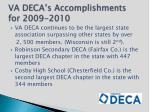 va deca s accomplishments for 2009 20101