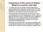 importance of the census in sudan what it is used for and why