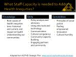 what staff capacity is needed to address health inequities