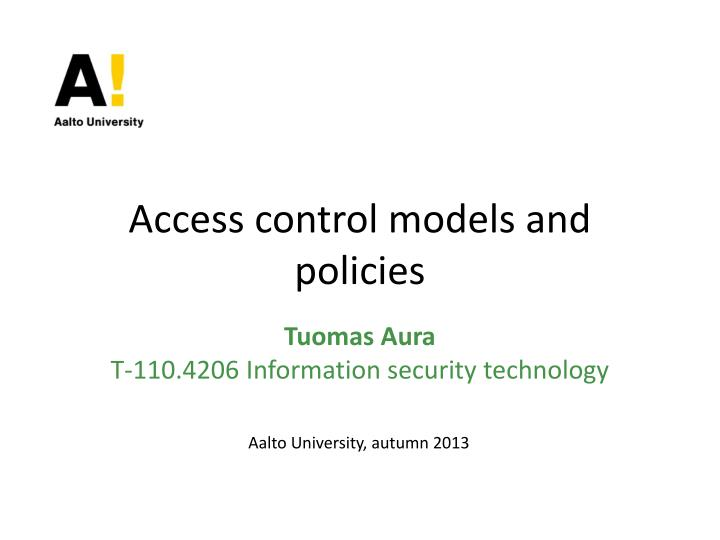 access control models and policies n.