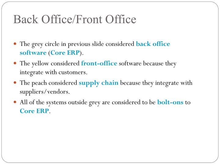 Back Office/Front Office