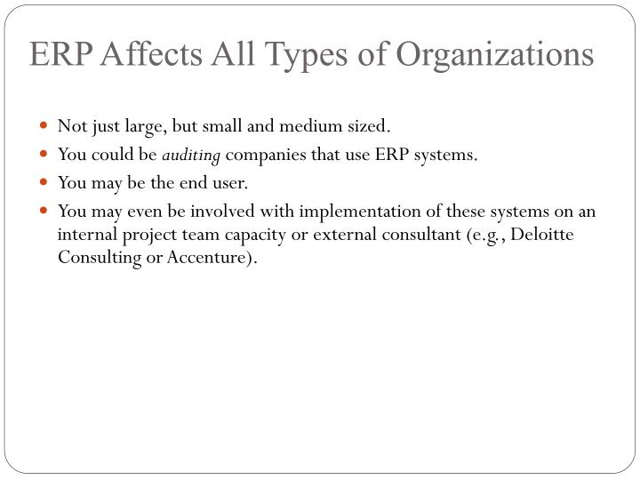 ERP Affects All Types of Organizations