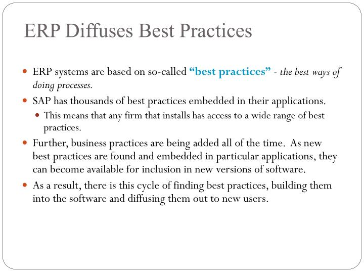 ERP Diffuses Best Practices