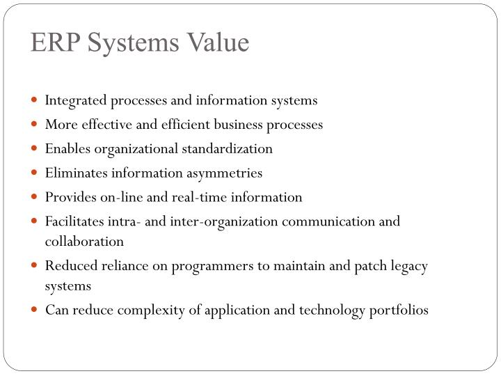 ERP Systems Value