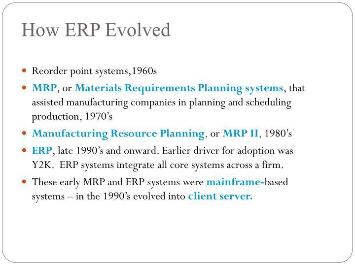 How erp evolved