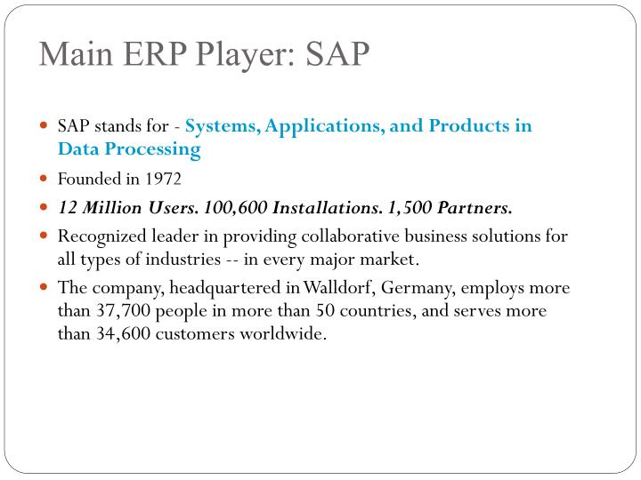 Main ERP Player: SAP