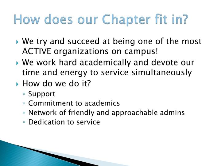 How does our Chapter fit in?