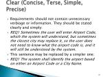 clear concise terse simple precise