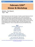 february 12th th dinner workshop