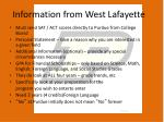 information from west lafayette