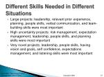 different skills needed in different situations