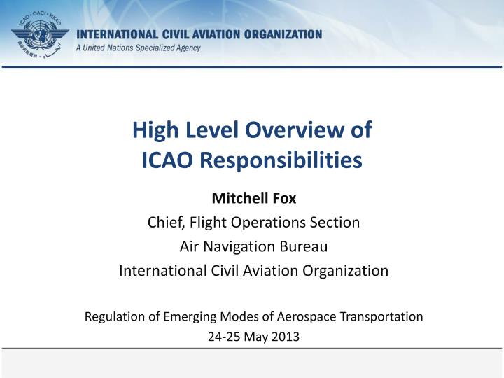 high level overview of icao responsibilities n.