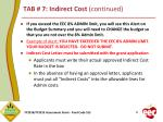 tab 7 indirect cost continued