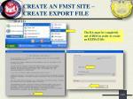 create an fmst site create export file