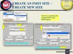 create an fmst site create new site