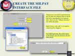 create the milpay interface file