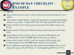 end of day checklist example