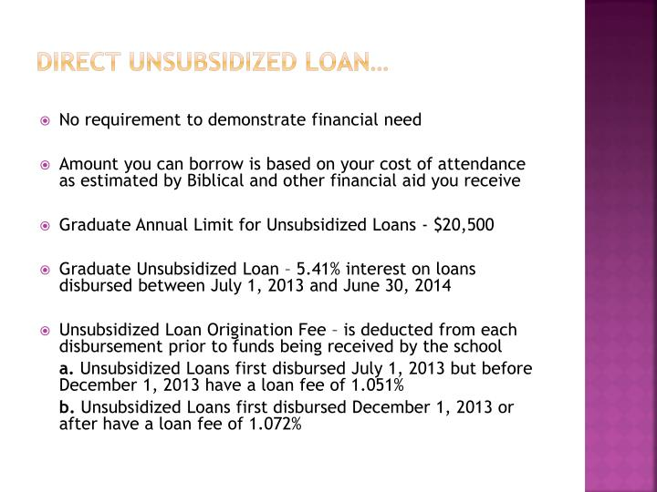 Direct Unsubsidized loan…