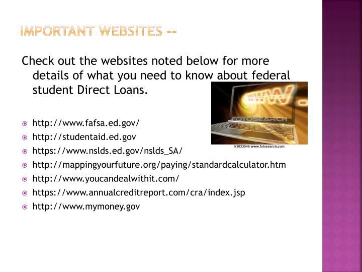 Important websites --
