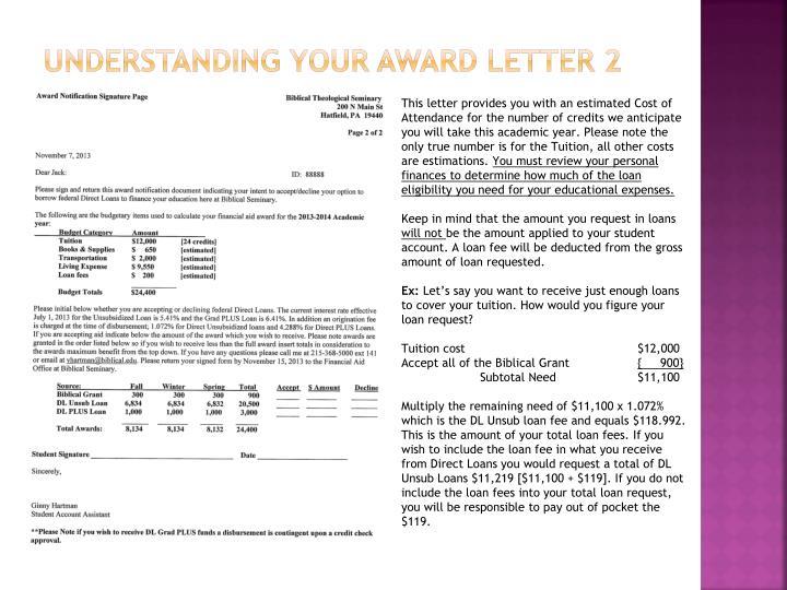 Understanding your award letter 2