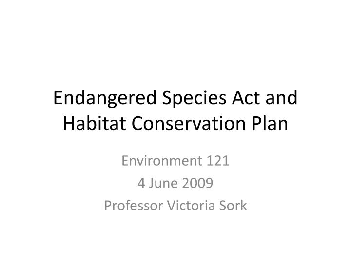 endangered species act and habitat conservation plan n.