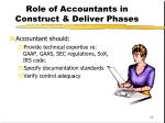 role of accountants in construct deliver phases