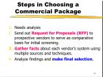 steps in choosing a commercial package