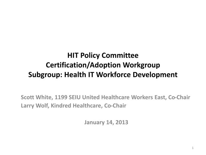 hit policy committee certification adoption workgroup subgroup health it workforce development n.