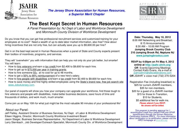 ppt - the jersey shore association for human resources, a superior