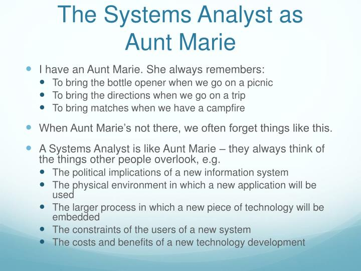 The Systems Analyst as