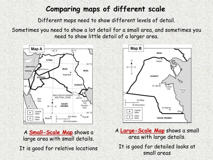 Comparing maps of different scale