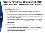 country partnership strategy 2012 2015 up to a total of usd 800 mil o ver 4 years