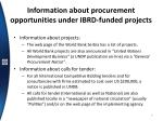 information about procurement opportunities under ibrd funded projects