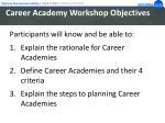 career academy workshop objectives