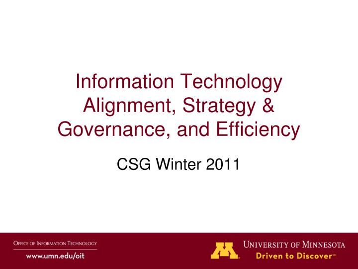 information technology alignment strategy governance and efficiency n.