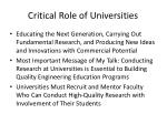 critical role of universities