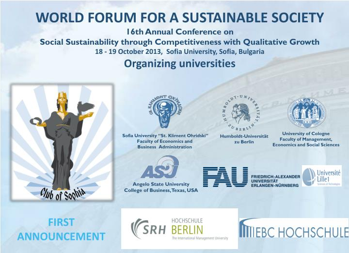 WORLD FORUM FOR A SUSTAINABLE SOCIETY