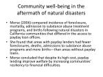 community well being in the aftermath of natural disasters